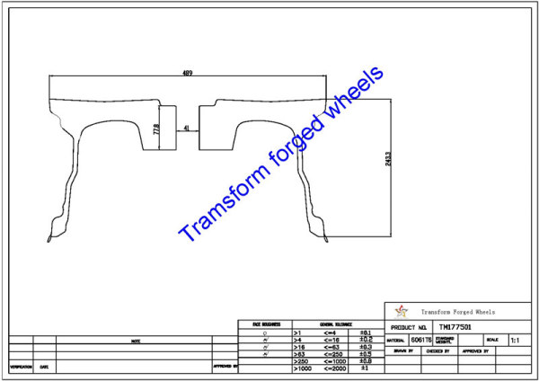 TM177501 17*7.5 Inch Forged Wheels Blanks Monoblock Drawing