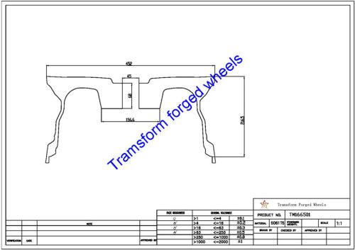 TM166501 16*6.5 Inch Forged Wheels Blanks Monoblock Drawing