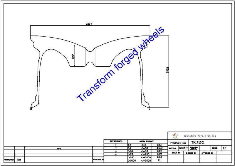 TM171001 17*10 Inch Forged Monoblock Wheels Blanks Drawing