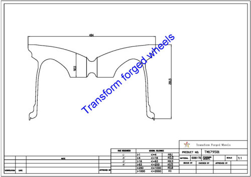 TM179501 17*9.5 Inch Forged Monoblock Wheels Blanks Drawing
