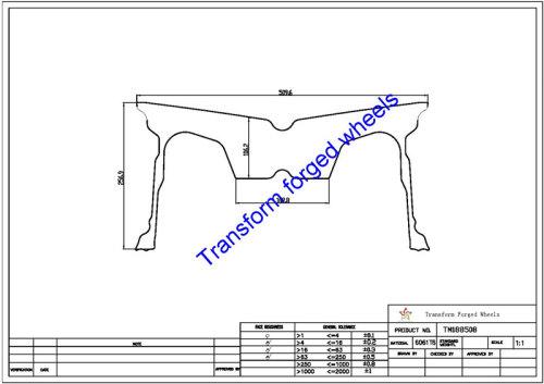 TM188508 18*8.5 Inch Forged Monoblock Wheels Blanks Drawing