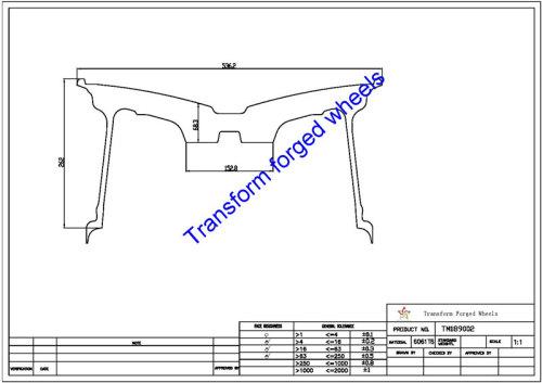 TM189002 18*9 Inch Forged Monoblock Wheels Blanks Drawing