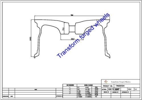 TM188504 18*8.5 Inch Forged Monoblock Wheels Blanks Drawing