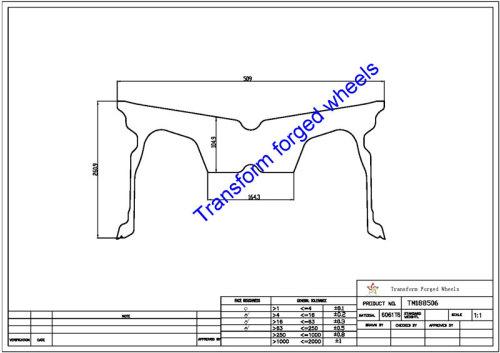 TM188506 18*8.5 Inch Forged Monoblock Wheels Blanks Drawing