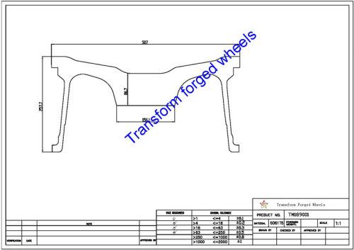 TM189001 18*9 Inch Forged Monoblock Wheels Blanks Drawing