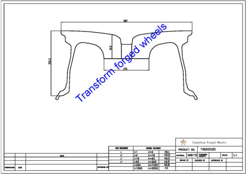TM188505 18*8.5 Inch Forged Monoblock Wheels Blanks Drawing