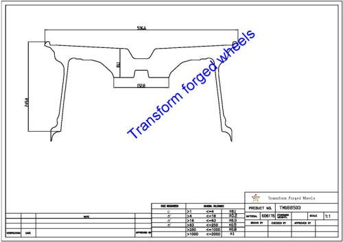 TM188503 18*8.5 Inch Forged Monoblock Wheels Blanks Drawing