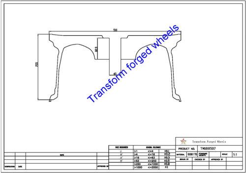 TM188507 18*8.5 Inch Forged Monoblock Wheels Blanks Drawing