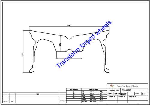 TM189005 18*9 Inch Forged Monoblock Wheels Blanks Drawing