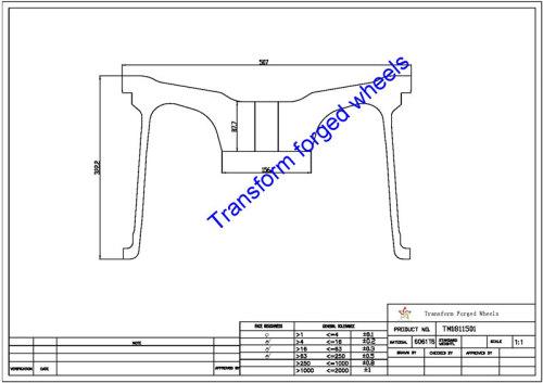 TM1811501 18*11.5 Inch Forged Monoblock Wheels Blanks Drawing