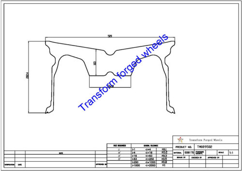 TM189502 18*9.5 Inch Forged Monoblock Wheels Blanks Drawing