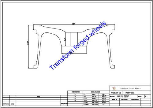 TM189501 18*9.5 Inch Forged Monoblock Wheels Blanks Drawing