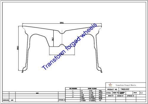 TM181002 18*10 Inch Forged Monoblock Wheels Blanks Drawing
