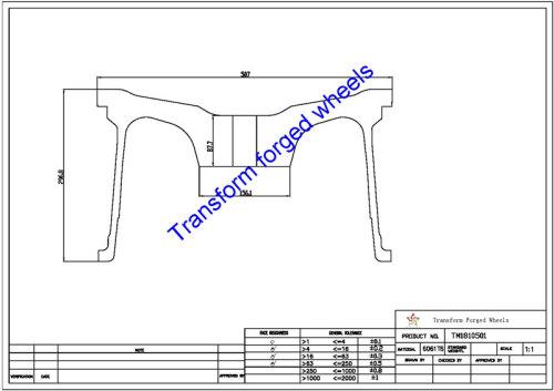 TM1810501 18*10.5 Inch Forged Monoblock Wheels Blanks Drawing