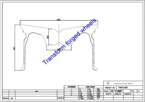 TM1810502 18*10.5 Inch Forged Monoblock Wheels Blanks Drawing