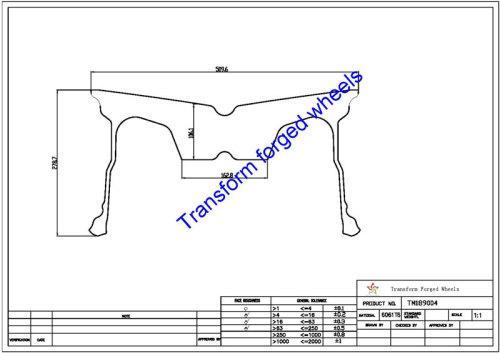 TM189004 18*9 Inch Forged Monoblock Wheels Blanks Drawing