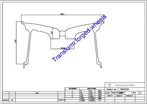 TM189503 18*9.5 Inch Forged Monoblock Wheels Blanks Drawing