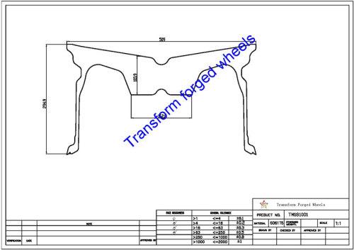 TM181001 18*10 Inch Forged Monoblock Wheels Blanks Drawing