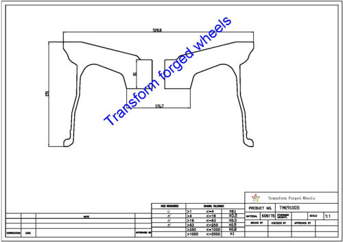 TM191005 19*10 Inch Forged Monoblock Wheels Blanks Drawing