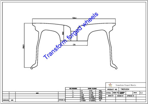 TM191004 19*10 Inch Forged Monoblock Wheels Blanks Drawing