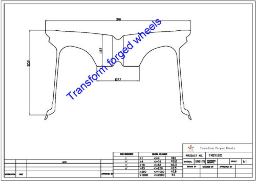 TM191101 19*11 Inch Forged Monoblock Wheels Blanks Drawing