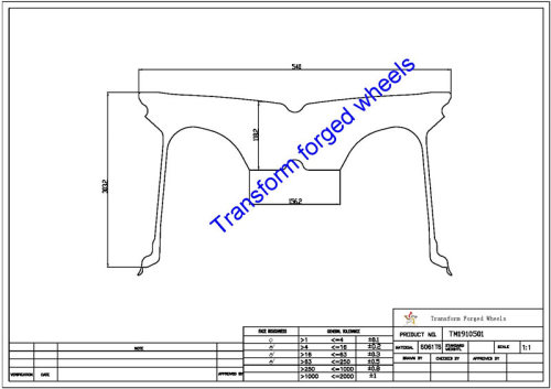 TM1910501 19*10.5 Inch Forged Monoblock Wheels Blanks Drawing