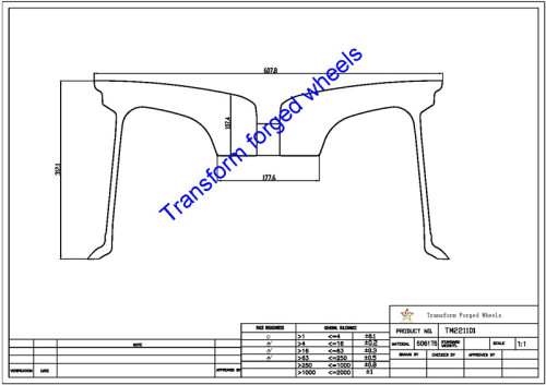 TM221101 22*11 Inch Forged Monoblock Wheels Blanks Drawing