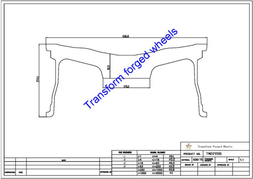 TM229501 22*9.5 Inch Forged Monoblock Wheels Blanks Drawing