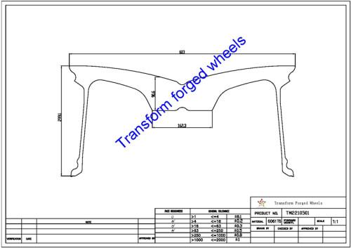 TM2210501 22*10.5 Inch Forged Monoblock Wheels Blanks Drawing