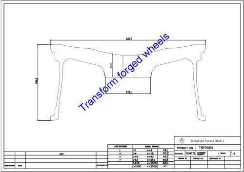 TM221001 22*10 Inch Forged Monoblock Wheels Blanks Drawing