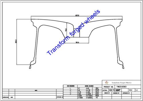 TM2210503 22*10.5 Inch Forged Monoblock Wheels Blanks Drawing
