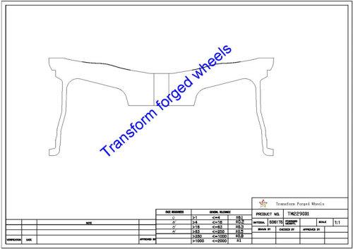 TM229001 22*9 Inch Forged Monoblock Wheels Blanks Drawing