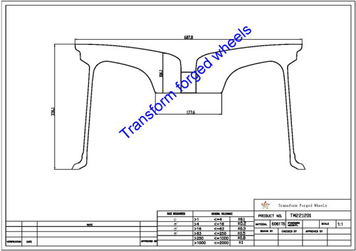 TM221201 22*12 Inch Forged Monoblock Wheels Blanks Drawing