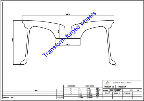 TM221004 22*10 Inch Forged Monoblock Wheels Blanks Drawing