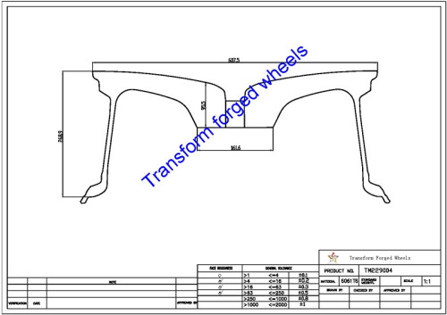 TM229004 22*9 Inch Forged Monoblock Wheels Blanks Drawing