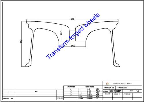 TM2210502 22*10.5 Inch Forged Monoblock Wheels Blanks Drawing