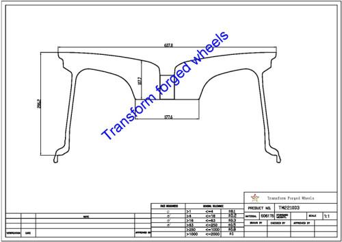 TM221003 22*10 Inch Forged Monoblock Wheels Blanks Drawing