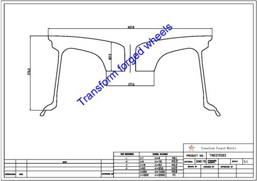 TM229503 22*9.5 Inch Forged Monoblock Wheels Blanks Drawing