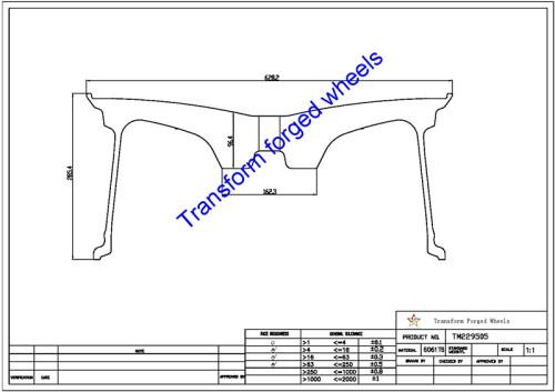 TM229505 22*9.5 Inch Forged Monoblock Wheels Blanks Drawing
