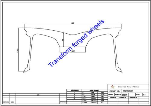 TM229502 22*9.5 Inch Forged Monoblock Wheels Blanks Drawing