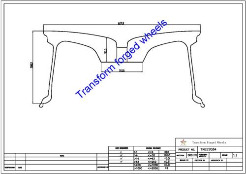 TM229504 22*9.5 Inch Forged Monoblock Wheels Blanks Drawing