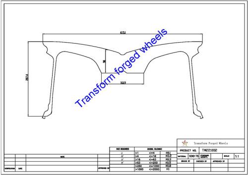 TM221002 22*10 Inch Forged Monoblock Wheels Blanks Drawing