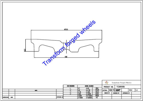 TC180001 18 Inch Forged Aluminum Raw Center Disk Blanks Drawing