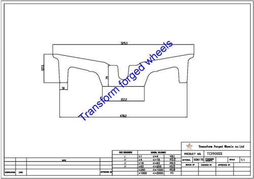 TC190003 19 Inch Forged Aluminum Raw Center Disk Blanks Drawing