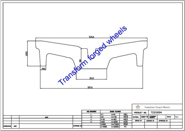 TC210004 21 Inch Forged Aluminum Raw Center Disk Blanks Drawing