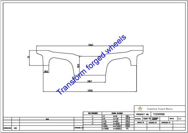 TC200006 20 Inch Forged Aluminum Raw Center Disk Blanks Drawing