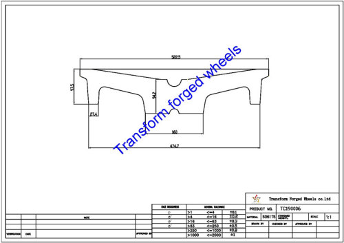 TC190006 19 Inch Forged Aluminum Raw Center Disk Blanks Drawing