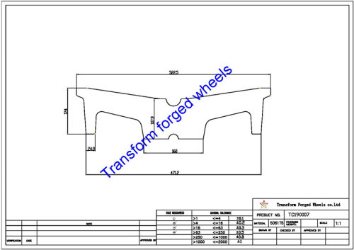 TC190007 19 Inch Forged Aluminum Raw Center Disk Blanks Drawing