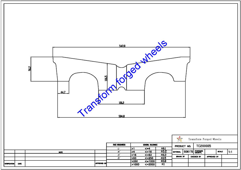 TC200005 20 Inch Forged Aluminum Raw Center Disk Blanks Drawing