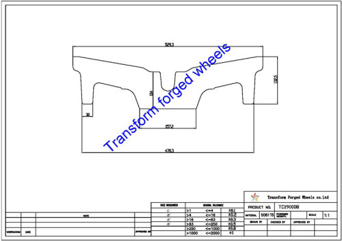 TC190008 19 Inch Forged Aluminum Raw Center Disk Blanks Drawing